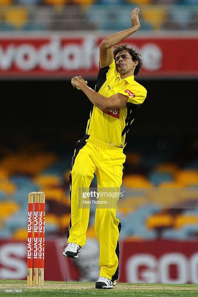 Ashton Agar of the Warriors bowls during the Ryobi One Day Cup match between the Queensland Bulls and the Western Australia Warriors at The Gabba on February 2, 2013 in Brisbane, Australia.