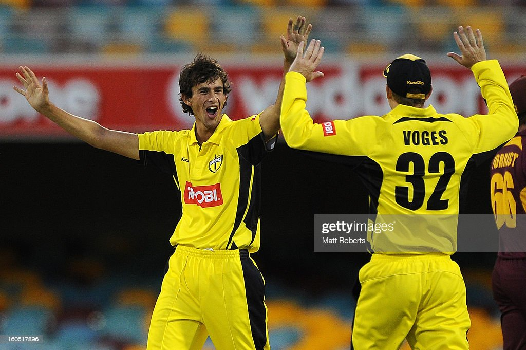 Ashton Agar of the Warriors celebrates a wicket during the Ryobi One Day Cup match between the Queensland Bulls and the Western Australia Warriors at The Gabba on February 2, 2013 in Brisbane, Australia.