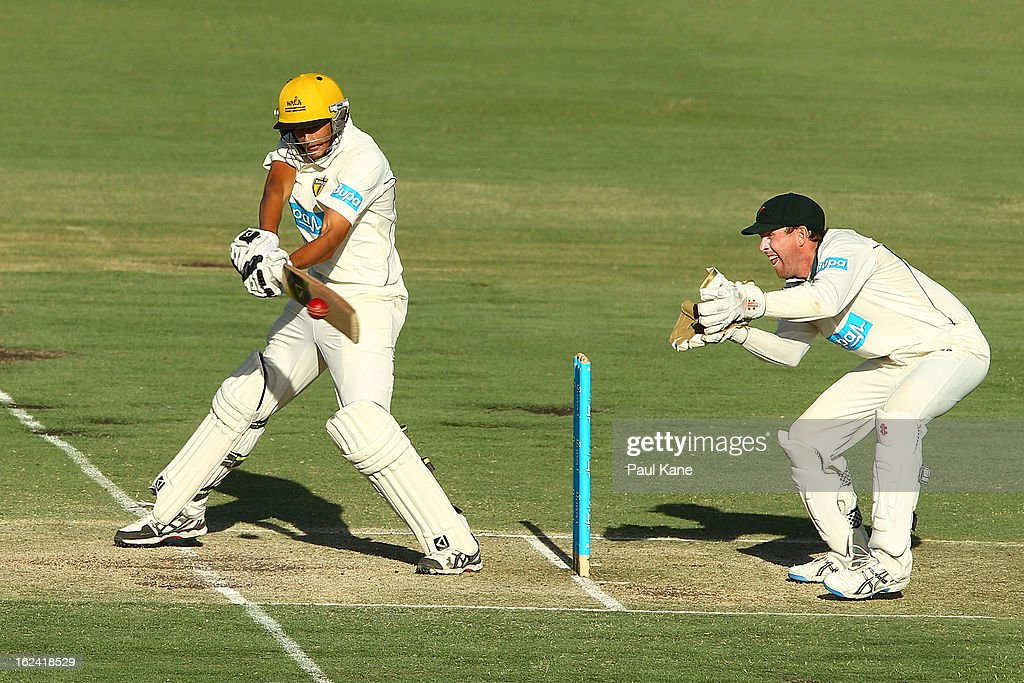 Ashton Agar of the Warriors hits out during day three of the Sheffield Shield match between the Western Australia Warriors and the Tasmania Tigers at WACA on February 23, 2013 in Perth, Australia.