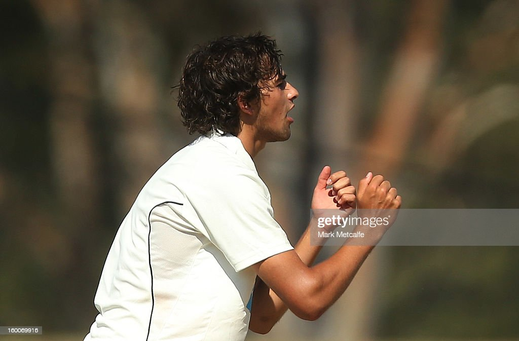 Ashton Agar of the Warriors reacts to a delivery during day two of the Sheffield Shield match between the New South Wales Blues and the Western Australia Warriors at Blacktown International Sportspark on January 25, 2013 in Sydney, Australia.