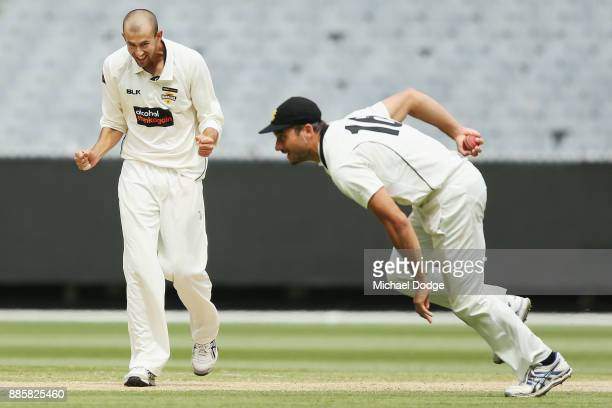 Ashton Agar of Western Australia celebrates the wicket of Seb Gotch of Victoria after Marcus Stoinis took the catch during day three of the Sheffield...