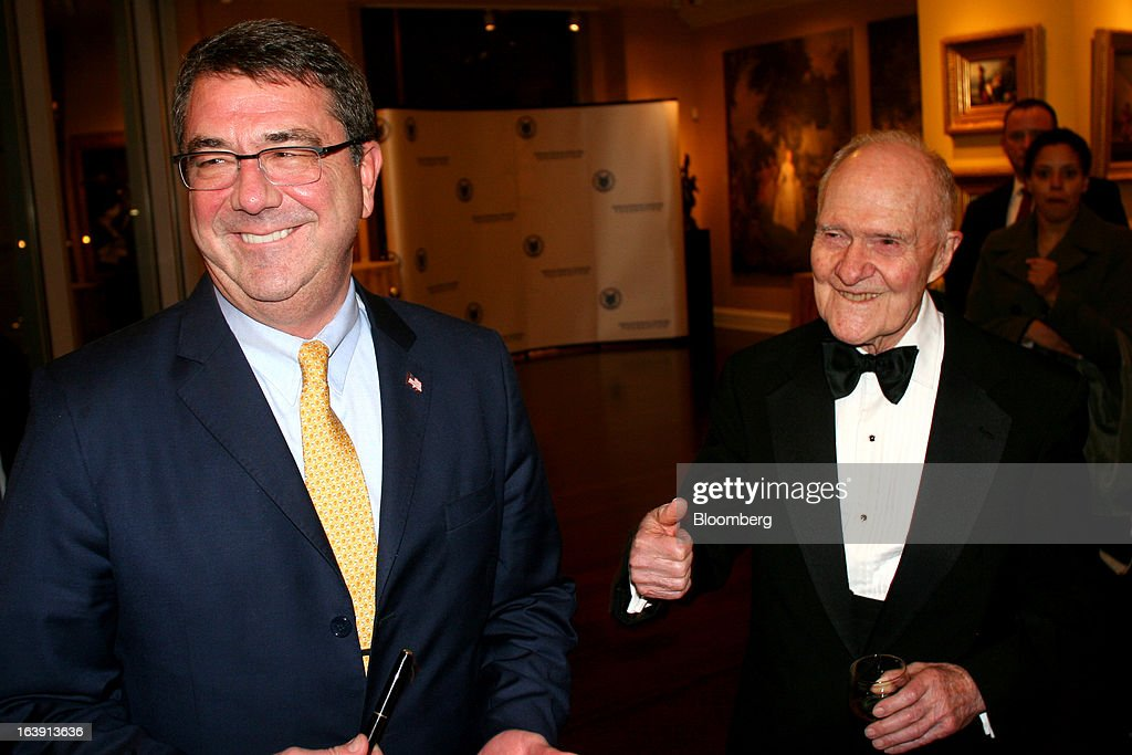 Ashton Carter, U.S. secretary of defense, left, and Brent Scowcroft, former U.S. national security adviser, attend a dinner at the Ritz-Carlton hotel in Washington, D.C., U.S., on Wednesday, March 13, 2013. The event was a tribute dinner where Scowcroft received the Lifetime International Statesman and Business Advocate Award from the National Defense University Foundation. Photographer: Stephanie Green/Bloomberg via Getty Images