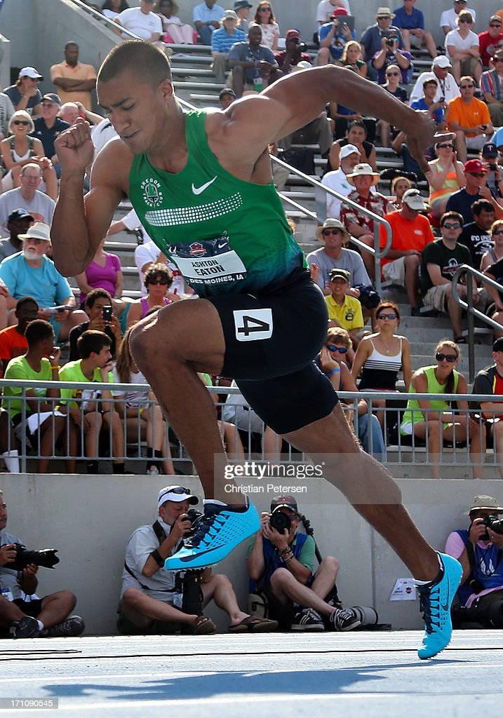 <a gi-track='captionPersonalityLinkClicked' href=/galleries/search?phrase=Ashton+Eaton+-+Track+and+Field+Athlete&family=editorial&specificpeople=5420683 ng-click='$event.stopPropagation()'>Ashton Eaton</a> competes in the Men's 400 Meter portion of the Decathlon on day two of the 2013 USA Outdoor Track & Field Championships at Drake Stadium on June 21, 2013 in Des Moines, Iowa.