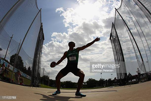 Ashton Eaton competes in the Men's Discus portion of the Decathlon on day three of the 2013 USA Outdoor Track Field Championships at Drake Stadium on...
