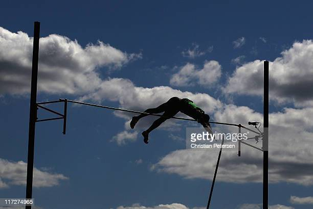 Ashton Eaton competes in the Men's pole vault portion of the decathlon event on day two of the USA Outdoor Track Field Championships at the Hayward...