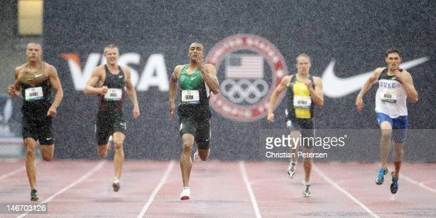 Ashton Eaton leads the field in the men's 400 meter dash portion of the decathlon during Day One of the 2012 US Olympic Track Field Team Trials at...