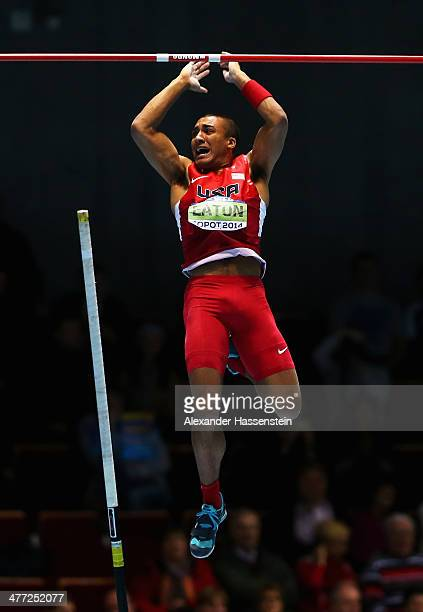 Ashton Eaton of the United States celebrates a successful attempt in the Heptathlon Pole Vault during day two of the IAAF World Indoor Championships...