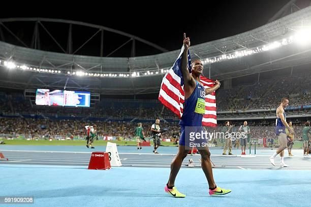 Ashton Eaton of the United States celebrates after the Men's Decathlon 1500m and winning gold overall on Day 13 of the Rio 2016 Olympic Games at the...