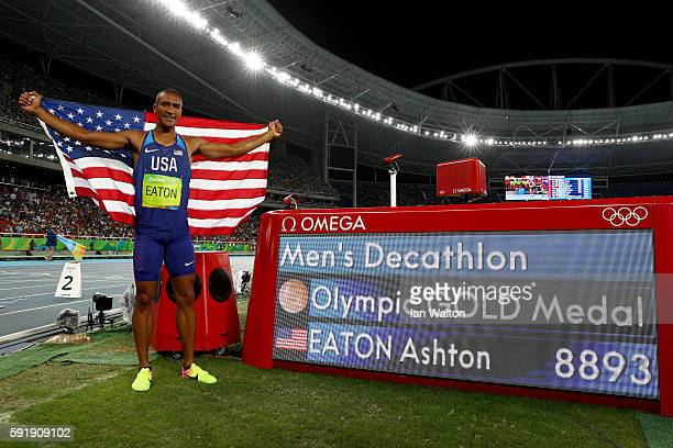 Ashton Eaton of the United States celebrates winning gold in the Men's Decathlon on Day 13 of the Rio 2016 Olympic Games at the Olympic Stadium on...