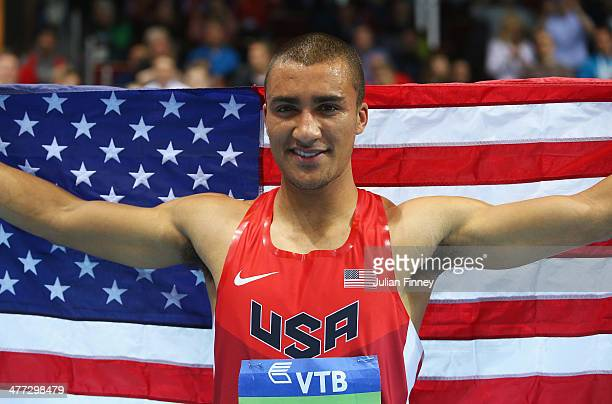 Ashton Eaton of the United States celebrates winning the gold medal in the Men's Heptathlon during day two of the IAAF World Indoor Championships at...