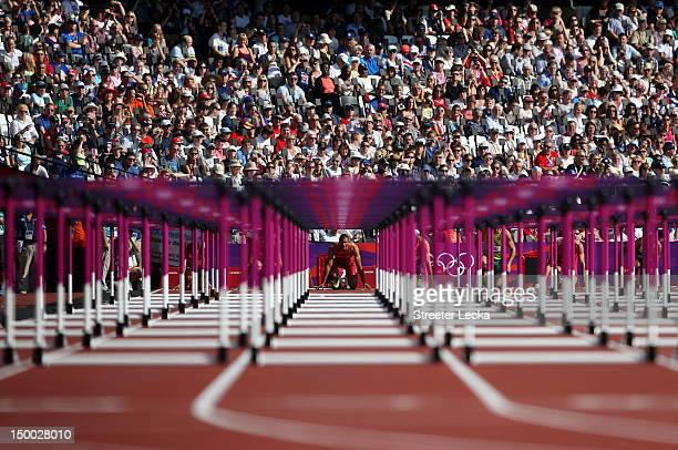 Ashton Eaton of the United States competes during the Men's Decathlon 110m Hurdles heats on Day 13 of the London 2012 Olympic Games at Olympic...