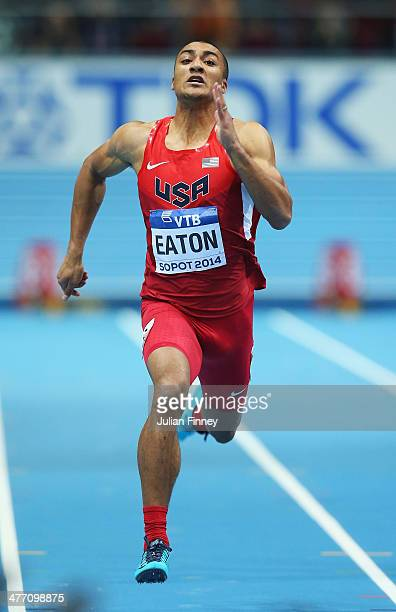 Ashton Eaton of the United States competes in the Heptathlon 60m during day one of the IAAF World Indoor Championships at Ergo Arena on March 7 2014...