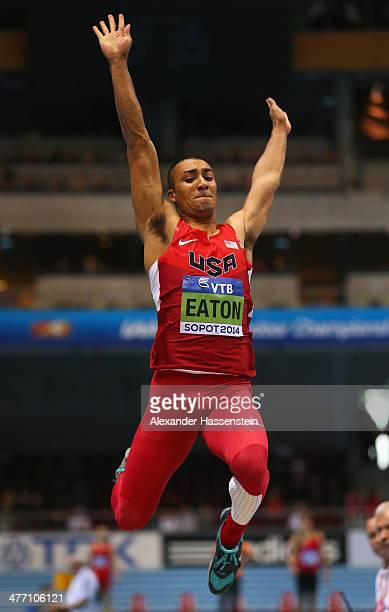 Ashton Eaton of the United States competes in the Heptathlon Long Jump during day one of the IAAF World Indoor Championships at Ergo Arena on March 7...