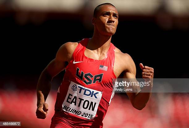 Ashton Eaton of the United States competes in the Men's Decathlon 100 metres during day seven of the 15th IAAF World Athletics Championships Beijing...