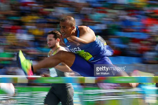 Ashton Eaton of the United States competes in the Men's Decathlon 110m Hurdles on Day 13 of the Rio 2016 Olympic Games at the Olympic Stadium on...