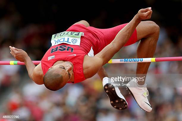 Ashton Eaton of the United States competes in the Men's Decathlon High Jump during day seven of the 15th IAAF World Athletics Championships Beijing...