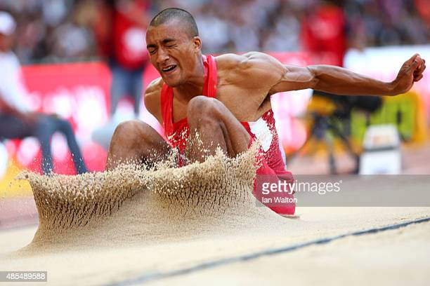 Ashton Eaton of the United States competes in the Men's Decathlon Long Jump during day seven of the 15th IAAF World Athletics Championships Beijing...