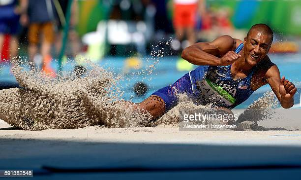 Ashton Eaton of the United States competes in the Men's Decathlon Long Jump on Day 12 of the Rio 2016 Olympic Games at the Olympic Stadium on August...