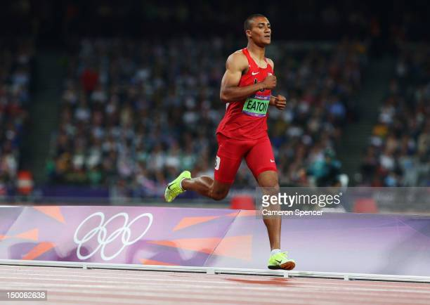 Ashton Eaton of the United States competes in the Men's Decathlon 1500m on Day 13 of the London 2012 Olympic Games at Olympic Stadium on August 9...