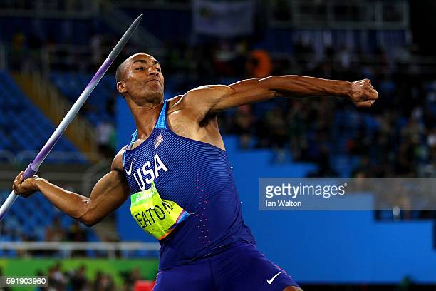 Ashton Eaton of the United States competes in the Men's Decathlon Javelin Throw on Day 13 of the Rio 2016 Olympic Games at the Olympic Stadium on...