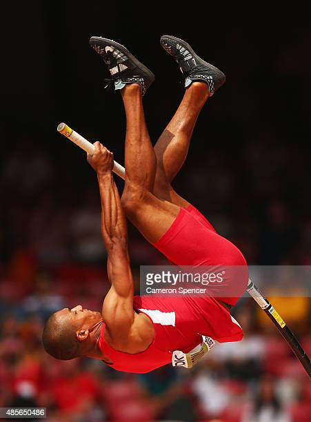 Ashton Eaton of the United States competes in the Men's Decathlon Pole Vault during day eight of the 15th IAAF World Athletics Championships Beijing...