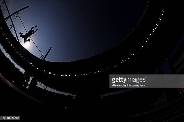 Ashton Eaton of the United States competes in the Men's Decathlon Pole Vault on Day 13 of the Rio 2016 Olympic Games at the Olympic Stadium on August...