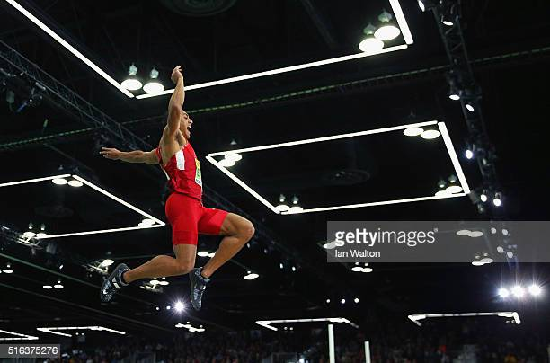 Ashton Eaton of the United States competes in the Men's Heptathlon Long Jump during day two of the IAAF World Indoor Championships at Oregon...