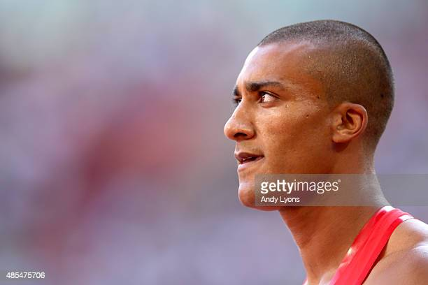 Ashton Eaton of the United States looks on after competing in the Men's Decathlon 100 metres during day seven of the 15th IAAF World Athletics...