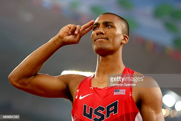 Ashton Eaton of the United States reacts during the Men's Decathlon Javelin during day eight of the 15th IAAF World Athletics Championships Beijing...
