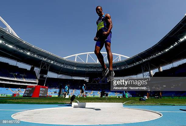 Ashton Eaton of the United States reacts during the Men's Decathlon Shot Put on Day 12 of the Rio 2016 Olympic Games at the Olympic Stadium on August...