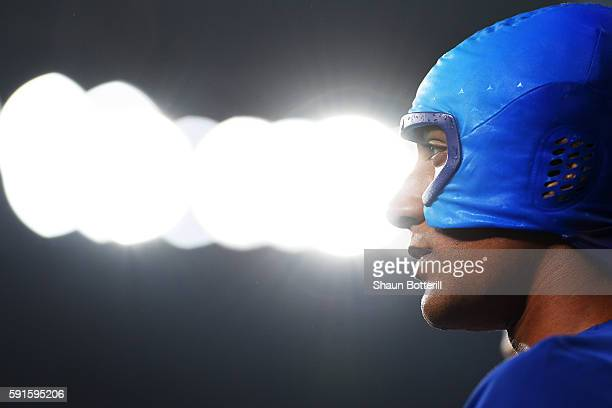 Ashton Eaton of the United States wears a cooling cap during the Men's Decathlon High Jump on Day 12 of the Rio 2016 Olympic Games at the Olympic...