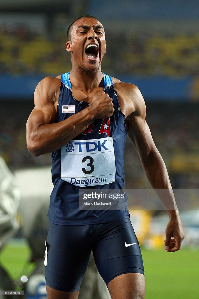 <a gi-track='captionPersonalityLinkClicked' href=/galleries/search?phrase=Ashton+Eaton+-+Track+and+Field+Athlete&family=editorial&specificpeople=5420683 ng-click='$event.stopPropagation()'>Ashton Eaton</a> of United States celebrates after the 1500 metres in the men's decathlon during day two of the 13th IAAF World Athletics Championships at the Daegu Stadium on August 28, 2011 in Daegu, South Korea.