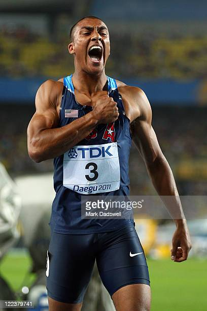 Ashton Eaton of United States celebrates after the 1500 metres in the men's decathlon during day two of the 13th IAAF World Athletics Championships...