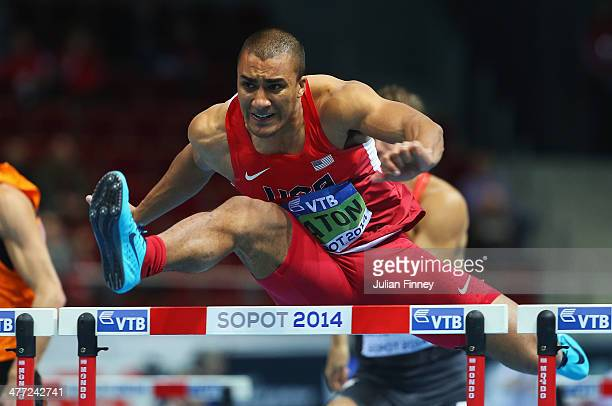 Ashton Eaton of United States competes in the Heptathlon 60m Hurdles during day two of the IAAF World Indoor Championships at Ergo Arena on March 8...