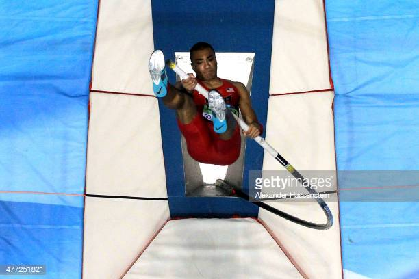 Ashton Eaton of United States competes in the Heptathlon pole vault during day two of the IAAF World Indoor Championships at Ergo Arena on March 8...