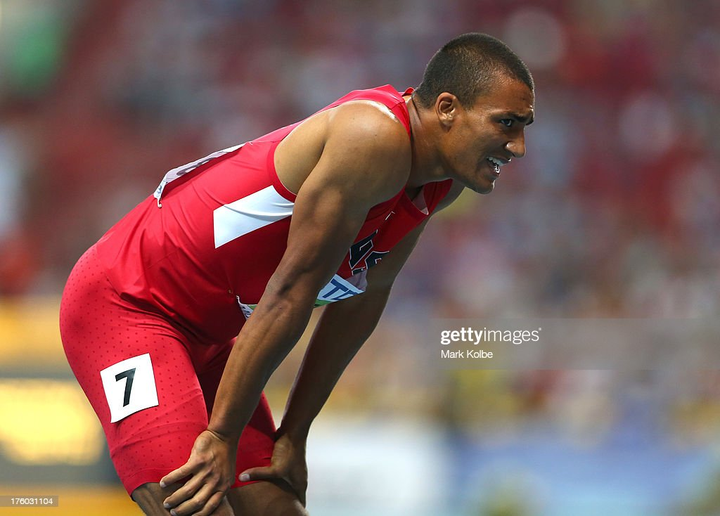 Ashton Eaton of United States looks on during Day Two of the 14th IAAF World Athletics Championships Moscow 2013 at Luzhniki Stadium on August 11, 2013 in Moscow, Russia.