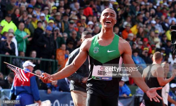 Ashton Eaton reacts after breaking the world record in the men's decathlon after competing in the 1500 meter run portion during Day Two of the 2012...