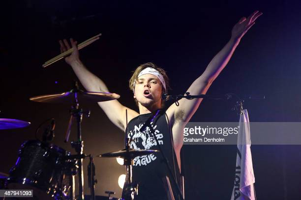 Ashton Irwin of 5 Seconds of Summer performs on stage at the Palais Theatre on May 3 2014 in Melbourne Australia