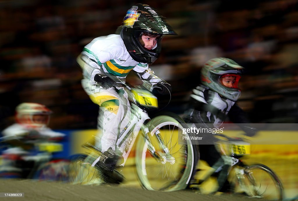 Ashton Kenny of Australia competes in the 5 & 6 year boys during day two of the UCI BMX World Championships at Vector Arena on July 25, 2013 in Auckland, New Zealand.