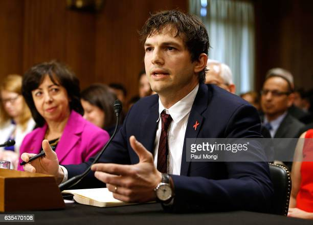 Ashton Kutcher Actor and CoFounder of Thorn Digital Defenders of Children speaks at a Senate Foreign Relations Committee hearing on Ending Modern...
