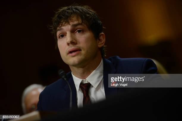 Ashton Kutcher actor and cofounder of Thorn speaks about ending modern day slavery before the Senate Foreign Relations Committee at Dirksen Senate...
