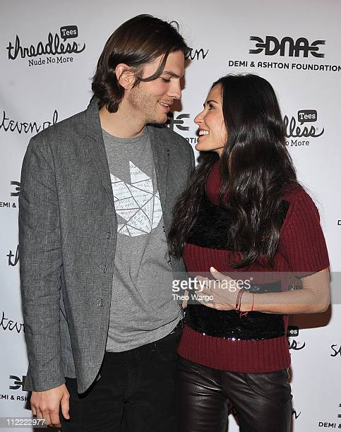 Ashton Kutcher and Demi Moore attend the launch party for 'Real Men Don't Buy Girls' at Steven Alan Annex on April 14 2011 in New York City
