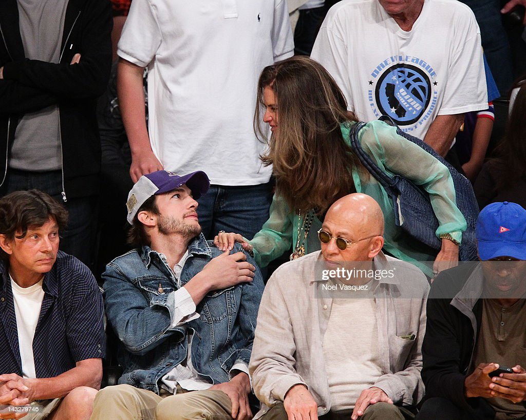 <a gi-track='captionPersonalityLinkClicked' href=/galleries/search?phrase=Ashton+Kutcher&family=editorial&specificpeople=202015 ng-click='$event.stopPropagation()'>Ashton Kutcher</a> (L) and <a gi-track='captionPersonalityLinkClicked' href=/galleries/search?phrase=Maria+Shriver&family=editorial&specificpeople=179436 ng-click='$event.stopPropagation()'>Maria Shriver</a> attend a basketball game between the Oklahoma City Thunder and the Los Angeles Lakers at Staples Center on April 22, 2012 in Los Angeles, California.