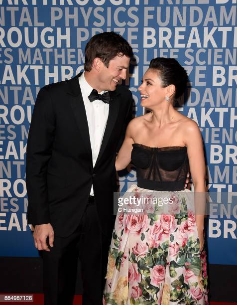 Ashton Kutcher and Mila Kunis attend the 6th Annual Breakthrough Prize at NASA Ames Research Center on December 3 2017 in Mountain View California