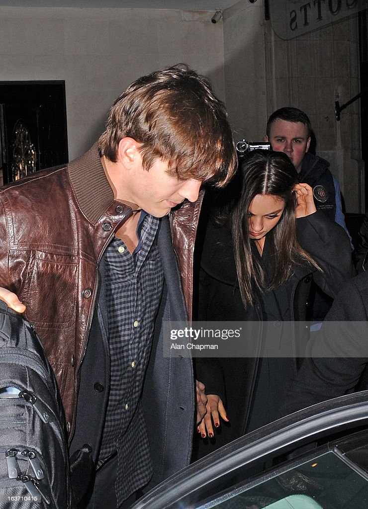 Ashton Kutcher and Mila Kunis sighting at Scotts restaurant on March 14, 2013 in London, England.
