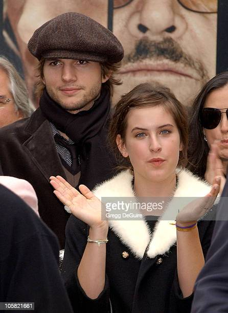 Ashton Kutcher and Scout Willis during Bruce Willis Honored With a Star on The Hollywood Walk of Fame at Hollywood Blvd in Hollywood California...