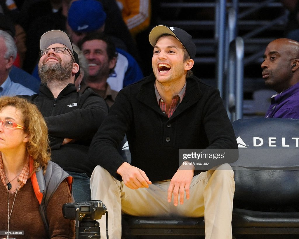Ashton Kutcher attends a basketball game between the Indiana Pacers and the Los Angeles Lakers at Staples Center on November 27, 2012 in Los Angeles, California.
