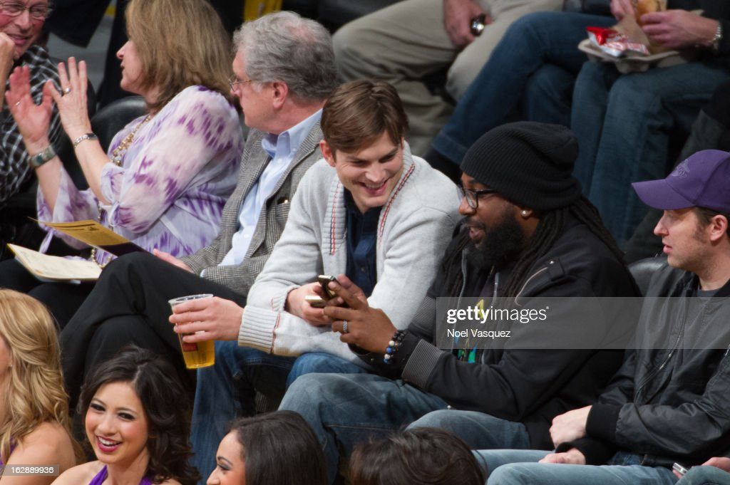 Ashton Kutcher attends a basketball game between the Minnesota Timberwolves and Los Angeles Lakers at Staples Center on February 28, 2013 in Los Angeles, California.