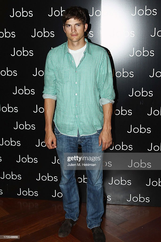 <a gi-track='captionPersonalityLinkClicked' href=/galleries/search?phrase=Ashton+Kutcher&family=editorial&specificpeople=202015 ng-click='$event.stopPropagation()'>Ashton Kutcher</a> attends the 'Jobs' Paris Premiere At Hotel Park Hyatt Paris Vendome on July 1, 2013 in Paris, France.