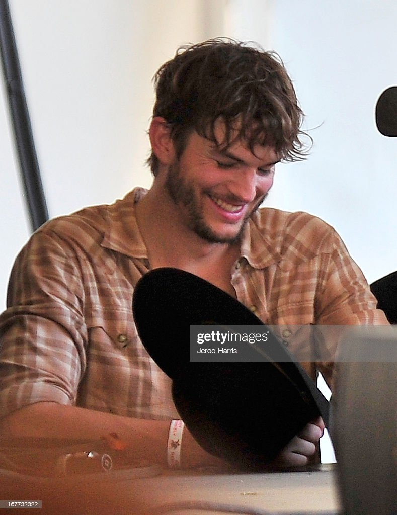Ashton Kutcher backstage at the 2013 Stagecoach Country Music Festival at The Empire Polo Club on April 28, 2013 in Indio, California.